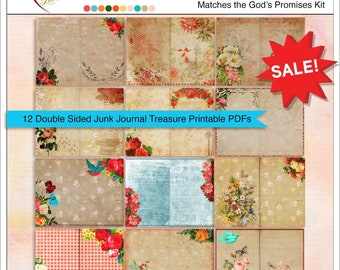 Junk Journal Treasure Notebook Pages  12 Printable PDFs in (24 pages folded)  or use Digitally as Backgrounds