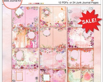 Junk Journal or Treasure Journal:  Pink, Orange and Purple Watercolor Florals with frames for journaling