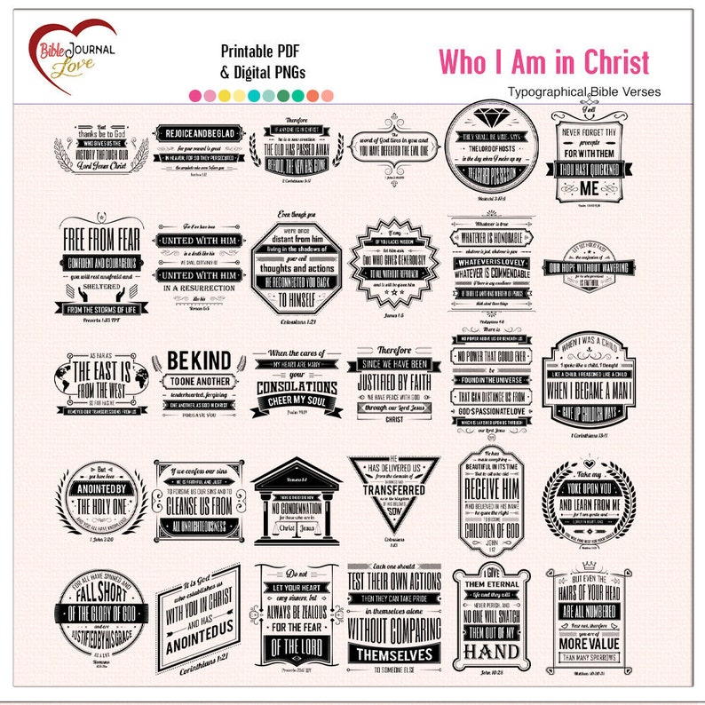 Who I am in Christ 30 Bible Verse Bundle  in Printable PDFs image 0