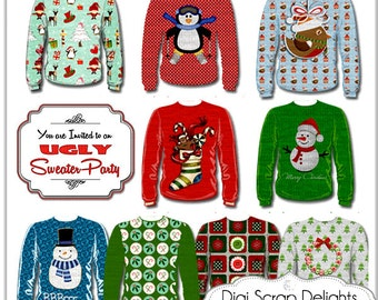 Christmas Clip Art Ugly Sweaters  Red, Green, Tree, Snow, Cards,  Digital Scrapbooking, Party Invitation Clipart,  Instant