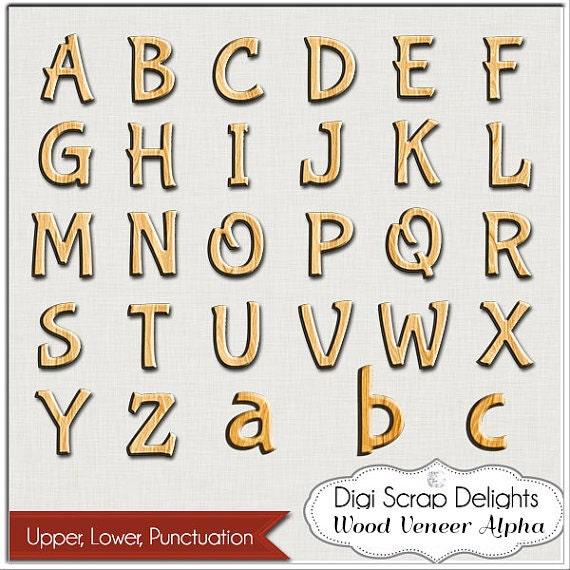 Sale 2 00 Wood Veneer Alpha For Digital Scrapbooking Wordart Card Making Backgrounds