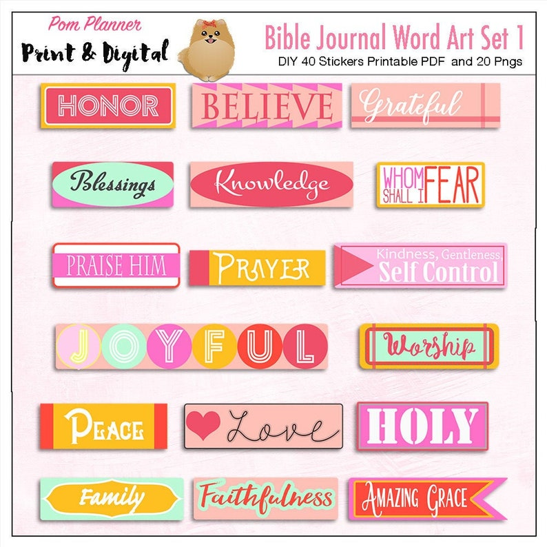 Printable & Digital Bible Journaling Word Art DIY Faith Stickers, Print on  Sticker Paper PDF and PNGS Matching Clip Art Available