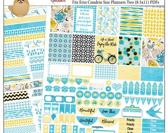 Orinda Weekly Printable Planner Kit  2 PDFs, EC or Happy Planner sizes, over 100 Stickers