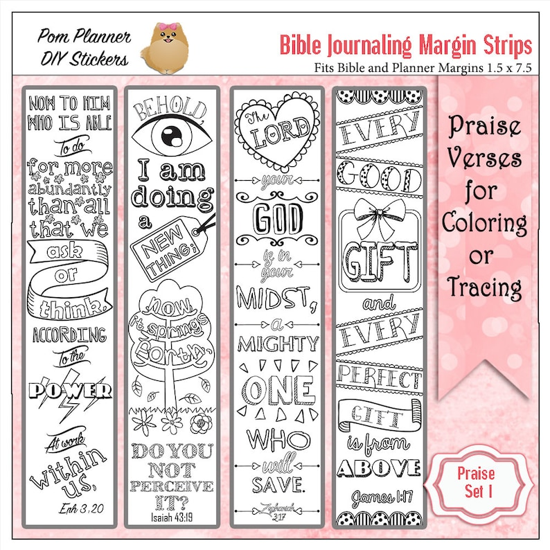 image relating to Printable Margins named Printable Coloring Bible Journaling Margin Strips Religion Verses for Extensive Bible Margins or Planner Decoration, or Bookmarks