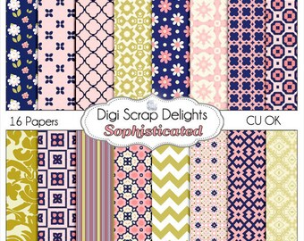 Scrapbook Paper: Sophisticated Papers in Navy, Pink & Gold w Chevron and Lattice Patterns, Instant Download