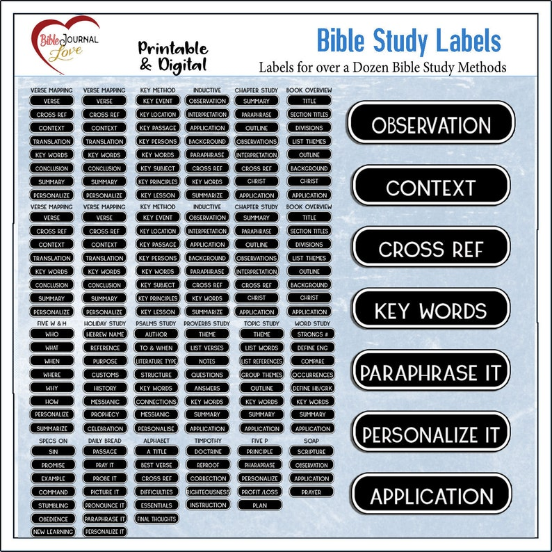 130 Bible Study Labels Printable & Digital Bible Journaling  Perfect for  Verse Mapping Pocket Bible Journaling Pages