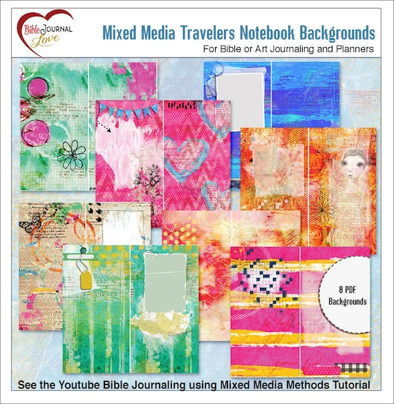 Mixed Media Travelers Notebook Pages For Bible Or Art Journaling 9 Pdf Or 18 Tn Pages