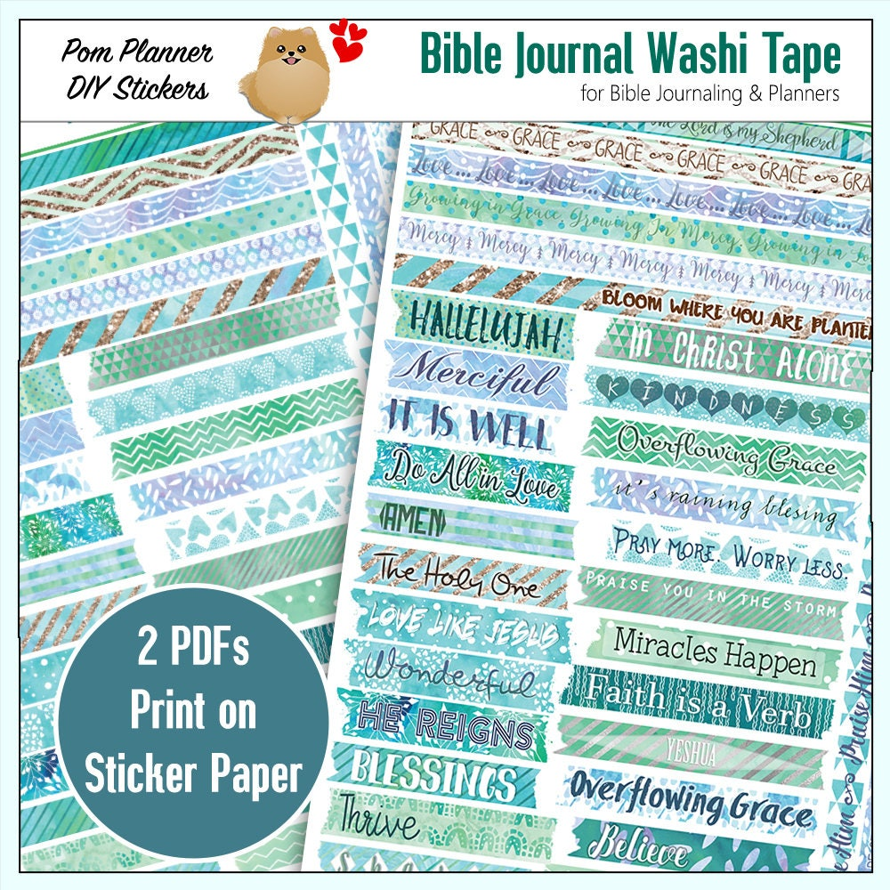 Printable DIY Spring Washi Tape for Bible Journaling or | Etsy