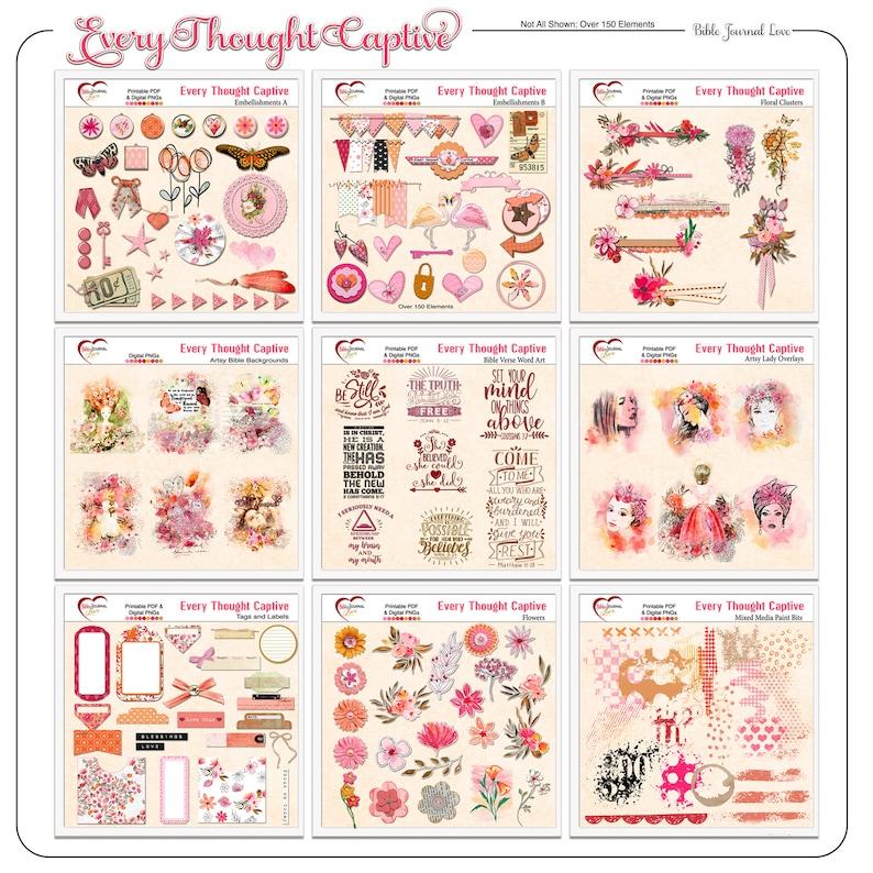 Every Thought Captive Bible Journaling Kit Digital & Printable image 0