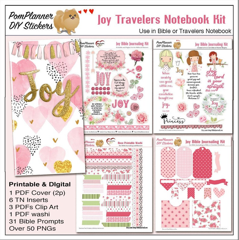 SALE Digital & Printable Joy Travelers Notebook Bible Journal image 0