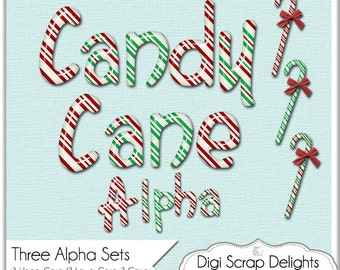 Christmas Clip Art Candy Cane Alpha, Red, Green, Peppermint for Logos, Cards, TpT Digital Scrapbooking,  Instant