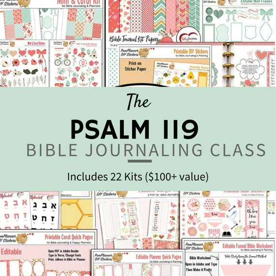 Bible Journaling Online Class Studying Psalm 119 22 Lessons With Kits Worksheets And Lessons Use Happy Planner Or Notebook
