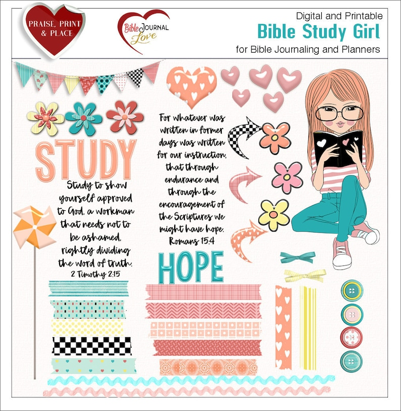 Bible Study Girl BOTH: Printable & Digital Bible Journal Kits  (Print PDF  on Sticker or Copy Paper OR use in Photoshop Elements)