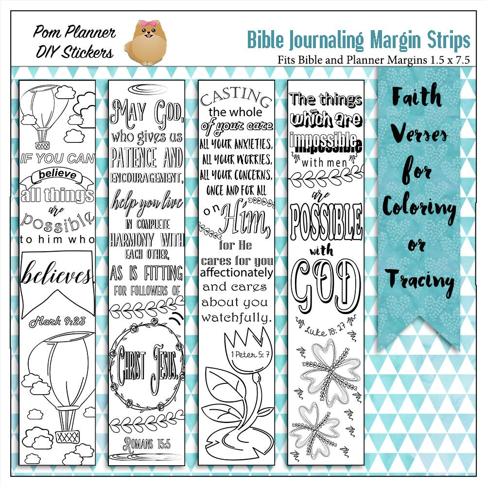 Printable Coloring Bible Journaling Margin Strips Faith Verses | Etsy