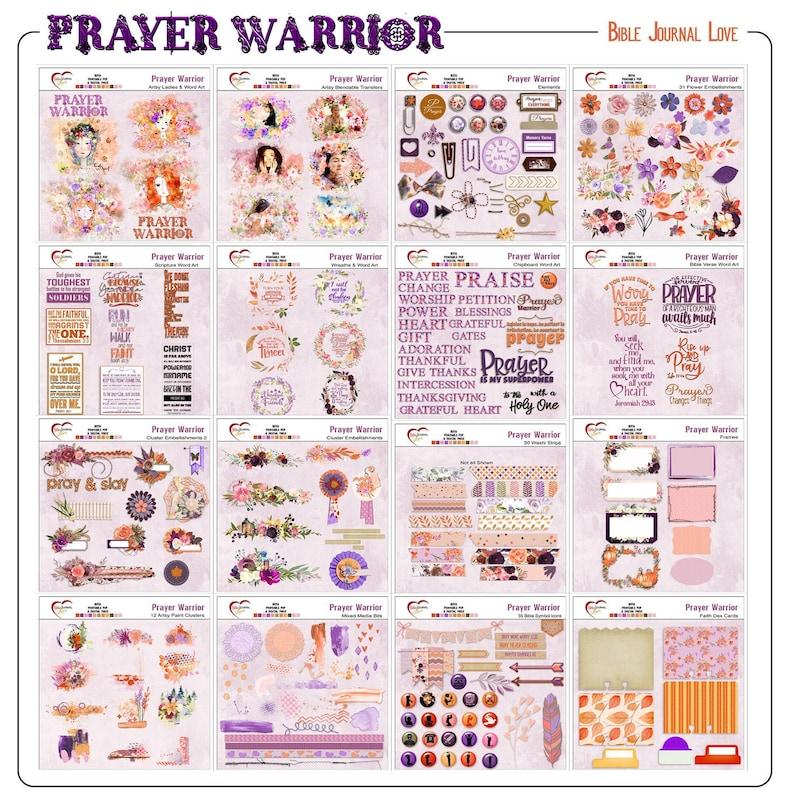 Prayer Warrior Woman Bible Journaling Kit Digital & Printable image 0