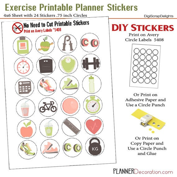 Exercise Icons No Cut Needed Printable Planner Stickers