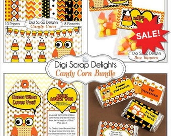 60% OFF Halloween Clip Art Candy Corn w Scripture Tags, Bible Verse Candy Wrappers, Bag Toppers, Owl Clip Art & Digital Papers