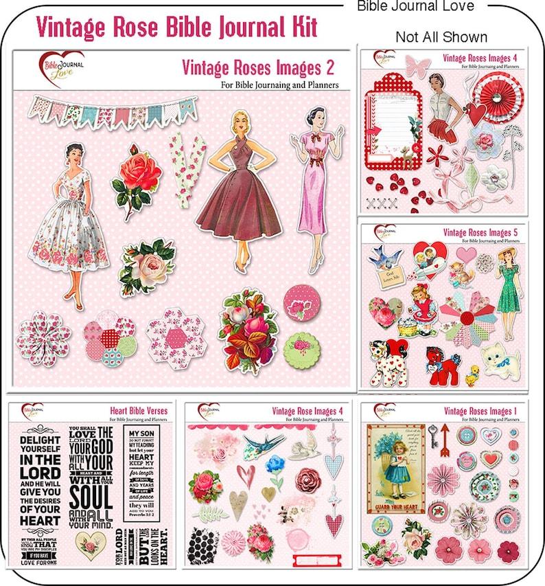 Retro Vintage Rose Bible Journal Kit in with Vintage Retro image 0