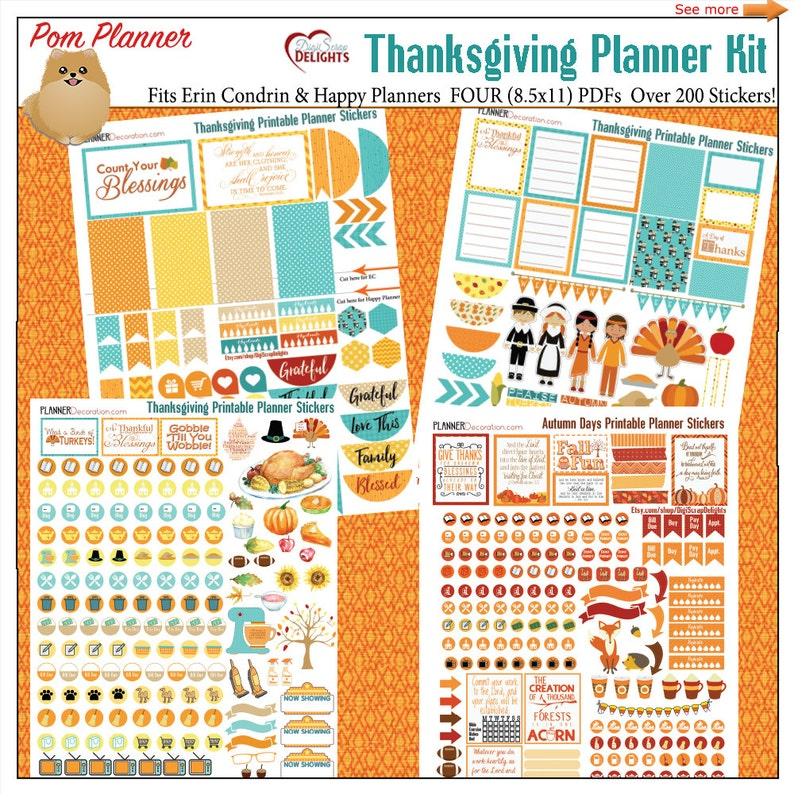 picture regarding Thanksgiving Planner Printable named Planner Package Stickers! Thanksgiving November Package Printable Planner Stickers 4 Sheets Higher than 300 Stickers! Orange, Teal. Yellow