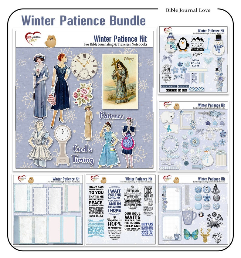 Patience Bible Journaling Kit inBlues with Vintage Retro image 0