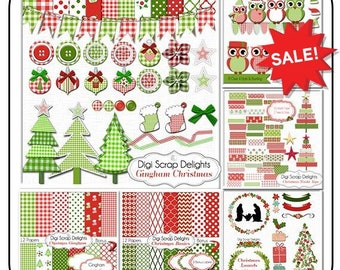GIANT BUNDLE Christmas Clip Art Gingham Bundle  SALE Red, Green Trees, Owls, Stockings, Bows, Bunting Banners, Ribbons, Cards