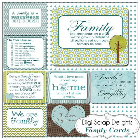 Family Sky Blue Pocket Cards 3x4 Project Life Style Blue Green Etsy