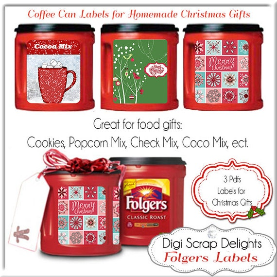graphic relating to Recycle Labels Printable known as Printable Xmas Labels. Recycle Folgers Espresso Cans Do it yourself Your self Print 3 8.5x11 PDF, Prompt Down load
