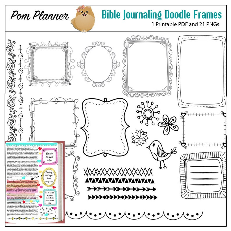 Doodle Frames and borders for Bible Journaling & Planners  Digital  Scrapbook Journaling, Card Making,