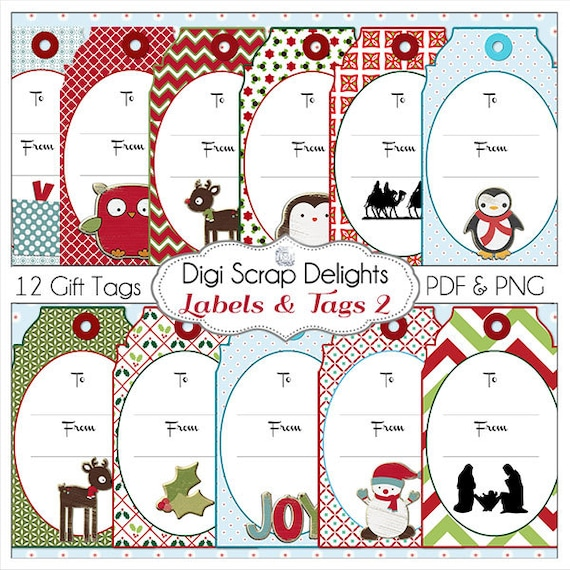 Printable Christmas Labels & Tags DIY You Print 8.5x11 PDF