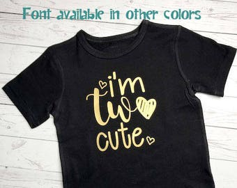 Second Birthday Outfit Girl, I'm Two Cute, 2nd Birthday Shirt, 2nd Birthday Outfit Girl, 2nd Birthday Shirt Girl, , Second Birthday Shirt