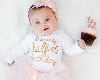 e9b41847 half birthday outfit girl, half birthday ONESIE®, cake smash outfit girl, 6  month photo outfit girl, half birthday tutu set, pink & gold