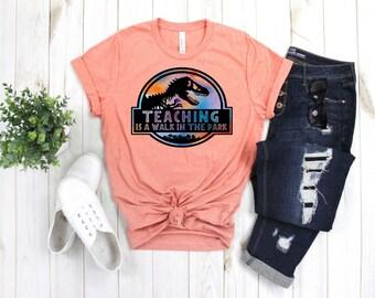 e590ec1a Teaching is a walk in the park Shirt, Teacher Shirt, Teacher Gift, Teacher,  Back to School Shirt, Jurassic Park, Teaching, Dinosaur Tee