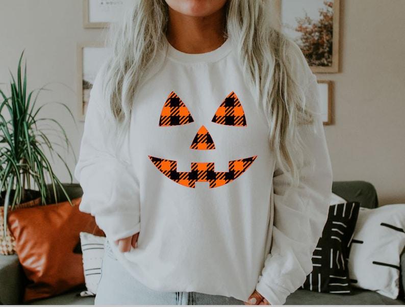 Womens Halloween Sweatshirt Jackolantern Shirt Women Pumpkin image 0