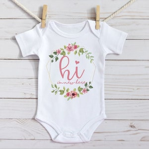 Personalized I/'m New Here Baby Girl Bodysuit