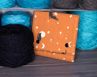 Circular Needle Pouch for Interchangeable Needles   Tools for Knitters   Cats with Moons and Stars