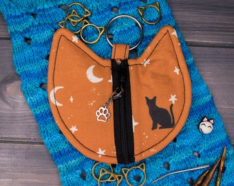 Cat Knitting Notions Bag   Tools for Knitters   Cats with Stars and Moons