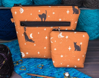 Knitting Project Bag   Tools for Knitters   Tiny, Small, Medium, or Large   Cats with Moons and Stars