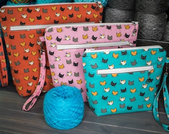 Knitting Project Bag   Tools for Knitters   Small, Medium, or Large   Scattered Kitties