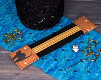 """Black Cats with Moons and Stars   Tools for Knitters   4"""", 5"""", 6"""", 7"""", 8"""", 9""""   Available in Regular and Wide"""