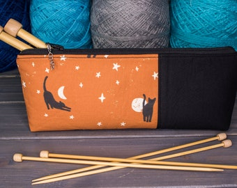 """Knitting Needle Case for 10"""" or 14"""" Needles   Tools for Knitters   Cats with Moons and Stars"""