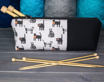 """Knitting Needle Case for 10"""" or 14"""" Needles   Tools for Knitters   Cats in Halloween Costumes"""