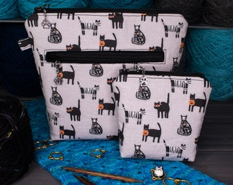 Knitting Project Bag   Tools for Knitters   Tiny, Small, Medium, or Large   Cats in Haloween Costumes
