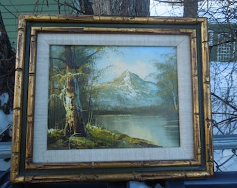 Vintage Oil on Canvas Landscape River Lake Pond Mountain Scene Oil Painting  Artist Signed Faux Bamboo Frame