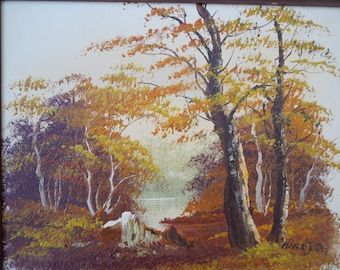 Vintage Oil on Canvas Landscape River Lake Pond Scene Oil Painting  Artist Jore
