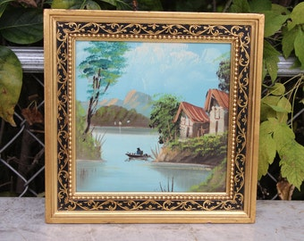 Vintage Oil on Canvas Boat Canoe Landscape River Lake Pond Mountain Scene Oil Painting Asian Oriental