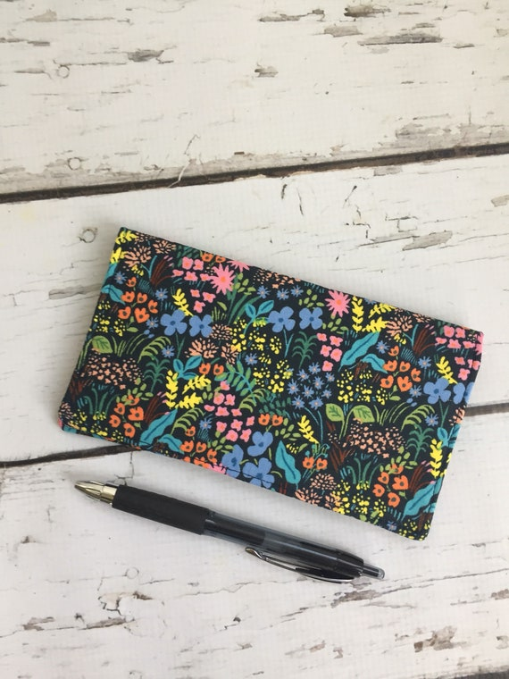 rifle paper co fabric checkbook cover check register holds etsy