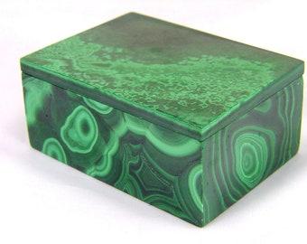 Jewelry Organizer 1.3 Inch MALACHITE Jewelry Box with Lid from Congo Ring Dish 36373 AA Quality Malachite Box Jewelry Holder Africa
