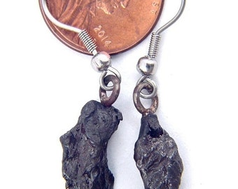 Russian Sikhote-Alin meteorite tektite necklace pendant lapidary with stainless steel chain  8610P