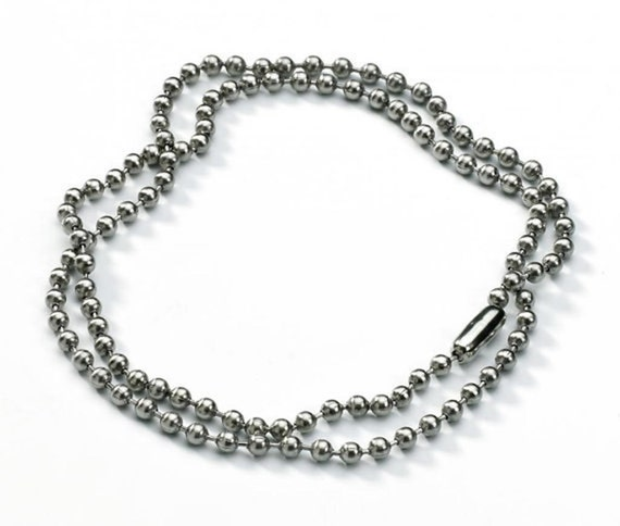Ten    3mm Stainless Steel Ball Beads 30 inch Necklace Chain 7148P
