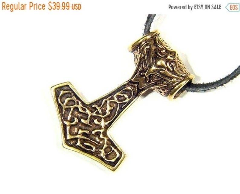 BUTW REAL BRONZE Thors hammer Norse Viking thors 7865A